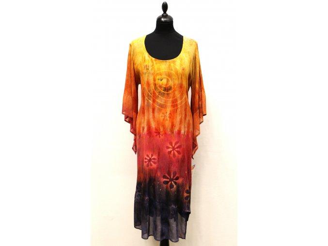 šaty asymetrického střihu (kytky)