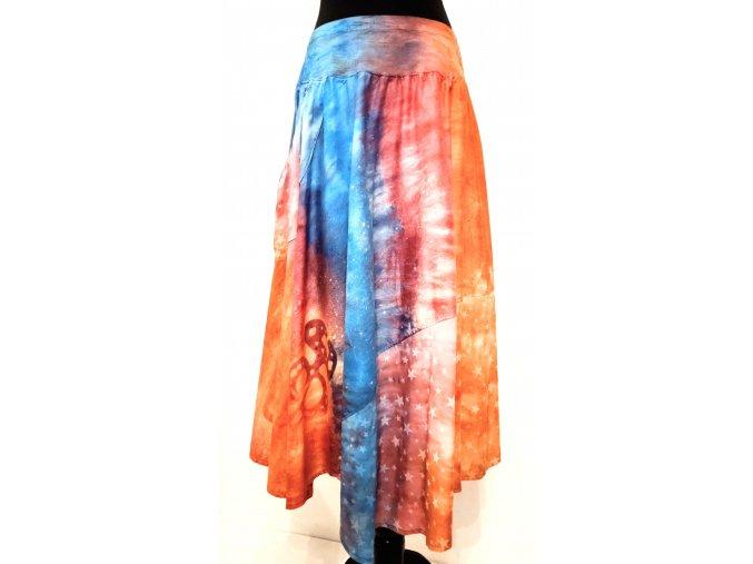 Asymetrická kruhová sukně