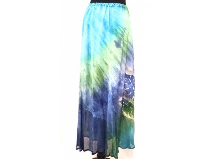 sukně z dílů s poloprůhledným volánem