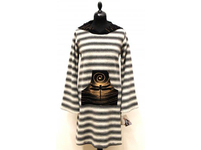 krátké teplé šaty- šedé pruhy