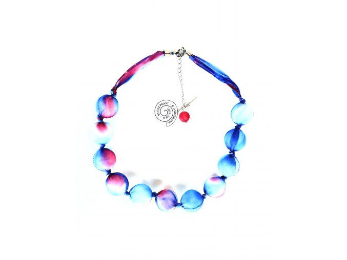 Modročervený kuličkový náhrdelník