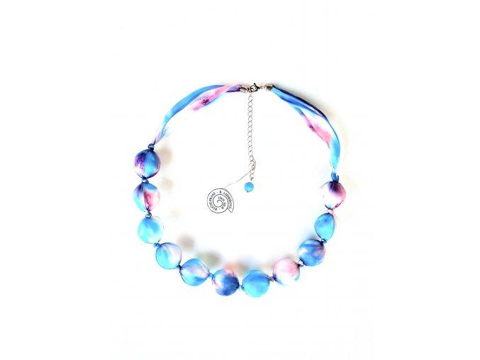 Tyrkysovorůžový kuličkový náhrdelník