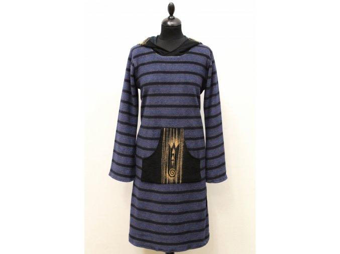 krátké teplé šaty- modré pruhy
