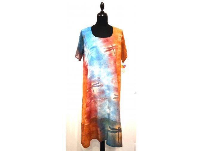 červeno-oranžovo-modré šaty s vážkami