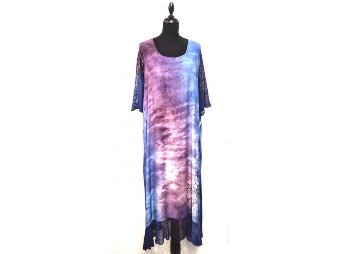 šaty se síťovaným rukávem a volánem