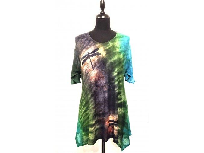 Volné triko ze splývavého úpletu