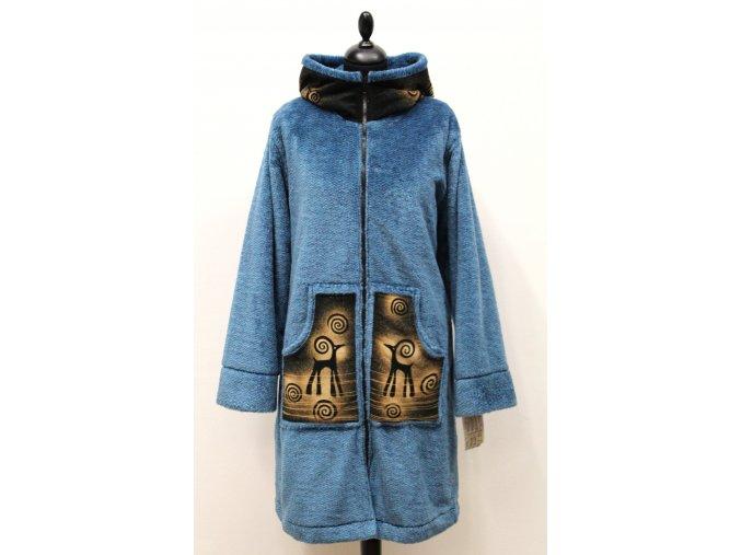 modrý vyteplený kabát