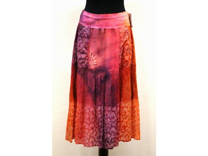červeno oranž fialová sukně s kapsami