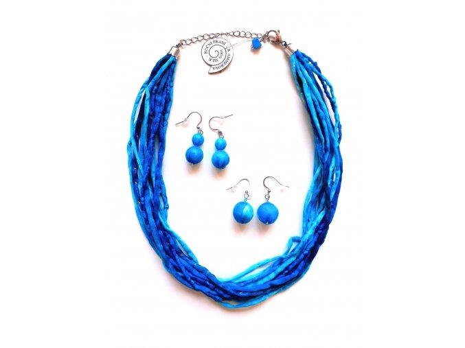 Hedvábný náhrdelník v modrých tónech