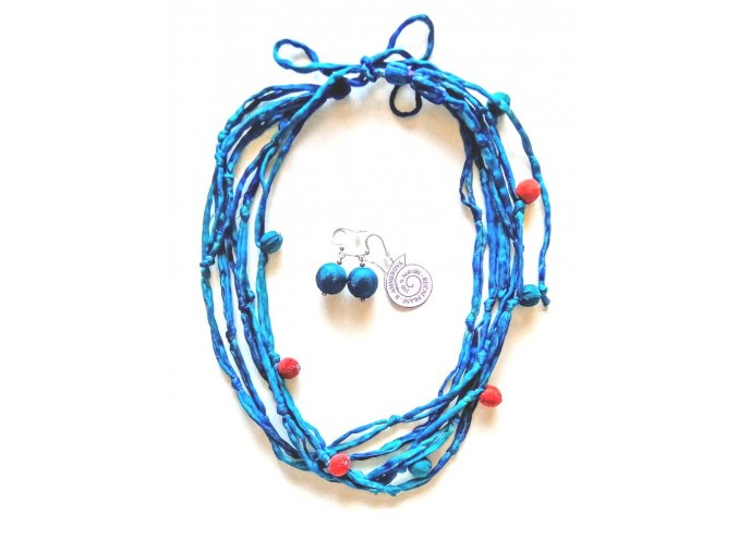 Hedvábný modrý náhrdelník s kuličkami