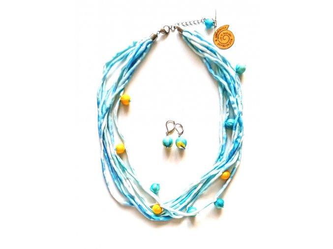 Hedvábný náhrdelník s kuličkami