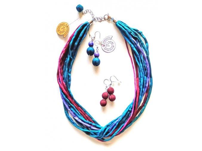 Hedvábný náhrdelník vícebarevný