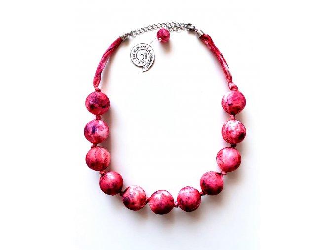 Růžový kuličkový náhrdelník