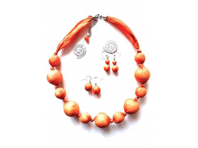 Oranžový kuličkový náhrdelník