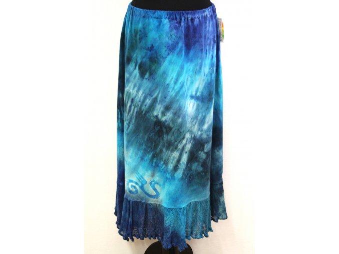 zeleno modrá úpletová sukně s volánem