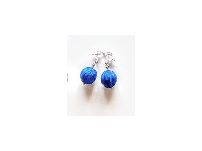 Hedvábné středně modré náušnice