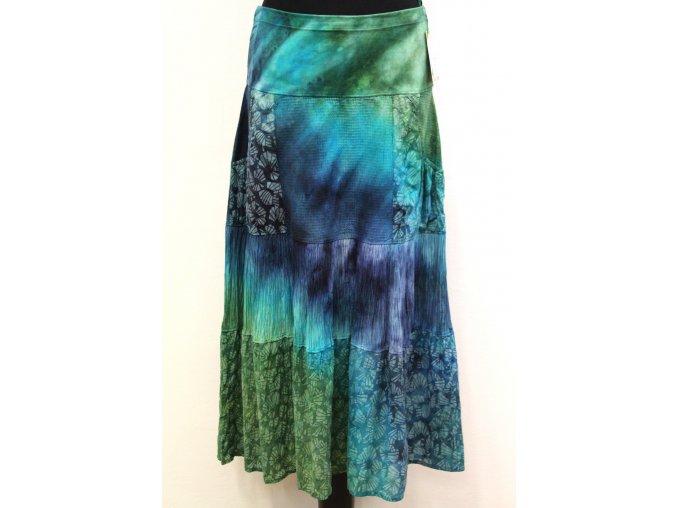 zeleno modro tyrkysová sukně s kapsami
