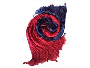 Hedvábná šála modro-červená