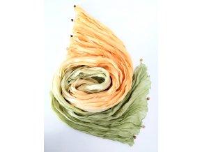 Hedvábný šál žluto-zelený