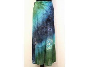 dlouhá sukně zeleno tyrkys modrá