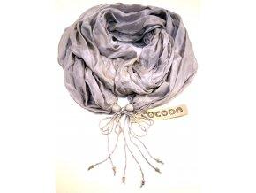 Hedvábný šál světle šedý