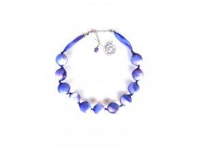 Fialovorůžový kuličkový náhrdelník
