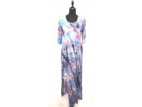 šaty s krešovaným rukávem a volánem