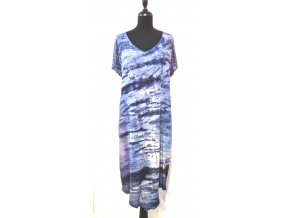 šaty v modrých tónech s vážkami