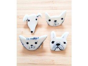 Porcelánová brož - kočičky a pejskové