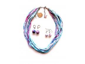 Hedvábný náhrdelník tyrkysovorůžový