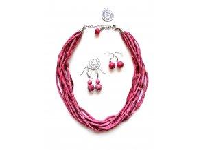 Hedvábný náhrdelník starorůžový