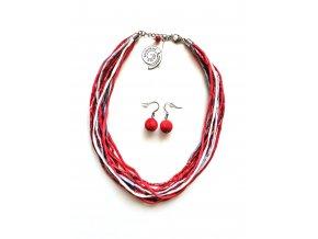Vícebarevný hedvábný náhrdelník