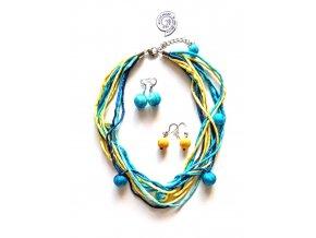 Hedvábný žlutotyrkysový náhrdelník s kuličkami