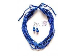 Hedvábný náhrdelník modrý