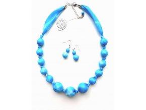 Modrý kuličkový náhrdelník