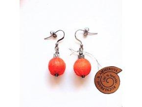 Hedvábné oranžové náušnice
