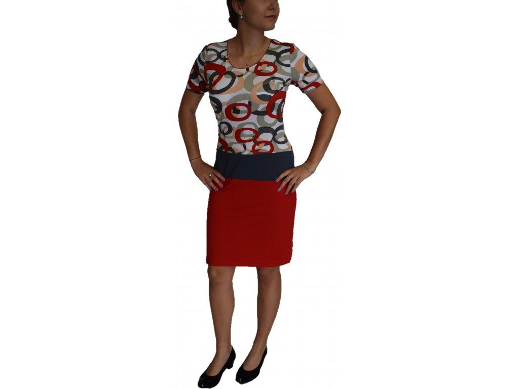Šaty Sabatti červené kruhy s červenou sukní