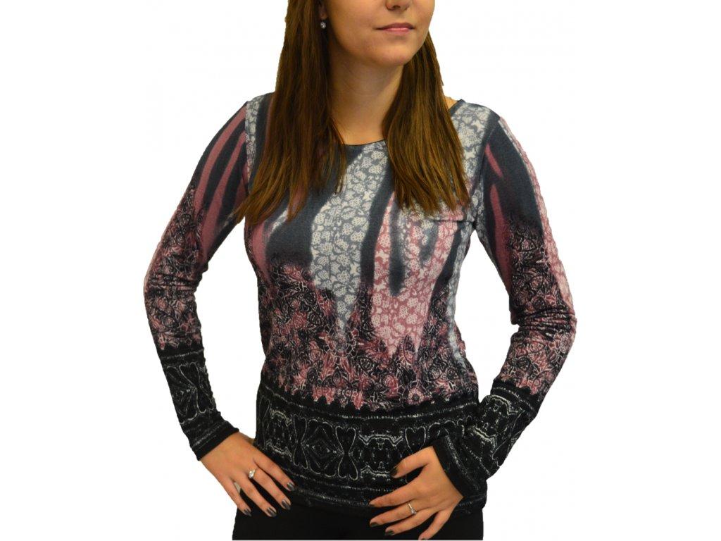 Halenka Pratto šedá s růžovými vzory