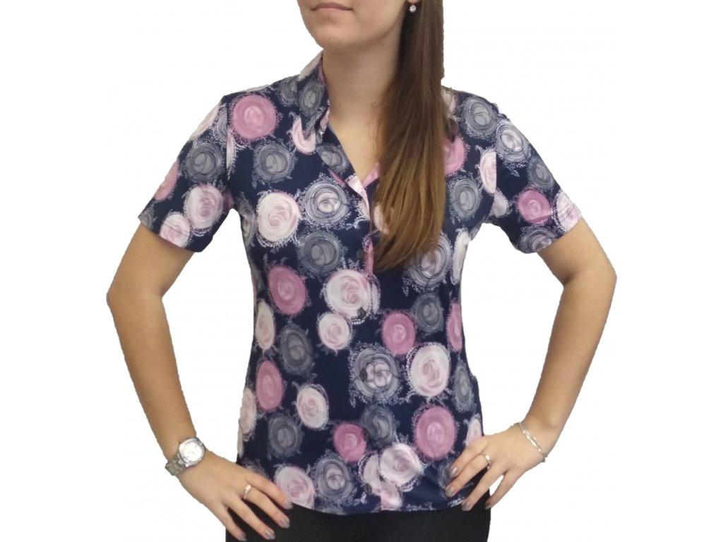 Košile Sabatti fialová s růžovými kruhy