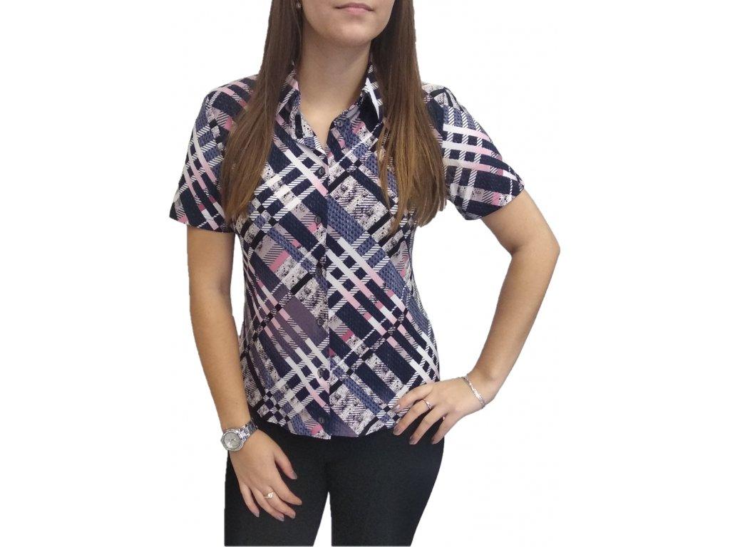 Košile Sabatti fialová s růžovými vzory