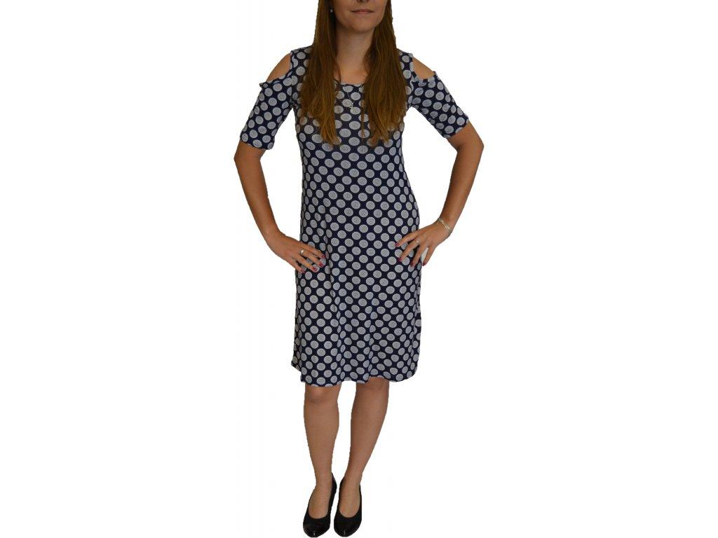 Šaty Elain modré s bílými puntíky