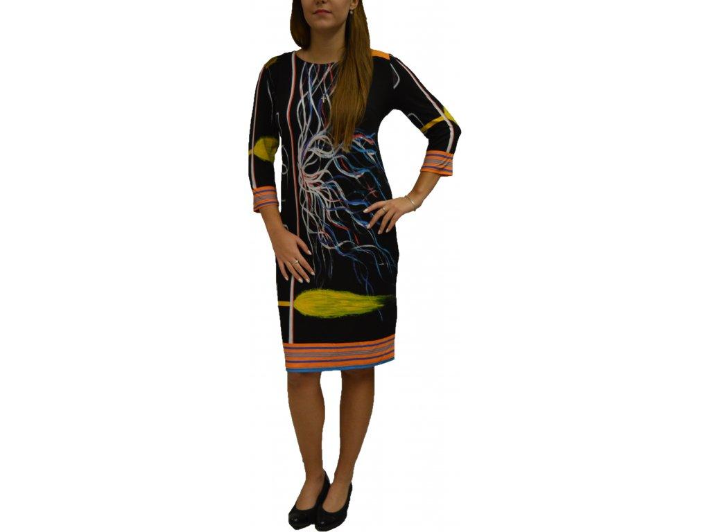 Šaty Elain černé se vzorem