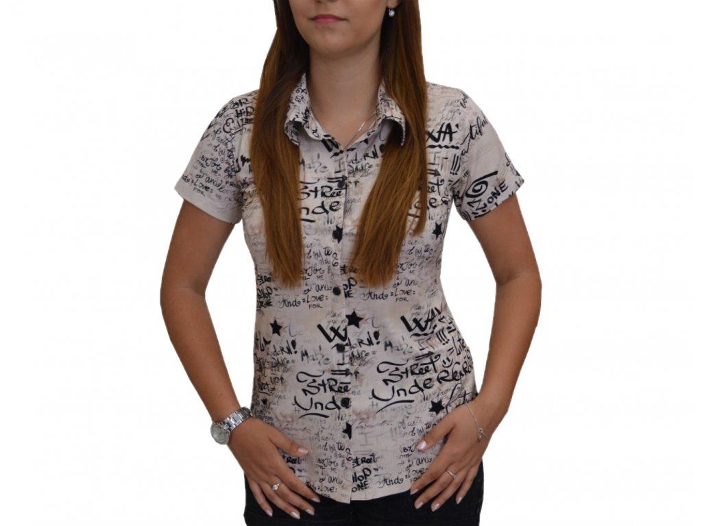 Košile Pratto smetanová s písmeny