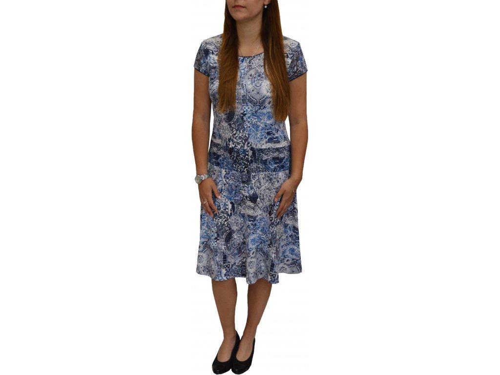 Šaty Sabatti modro-bílé s rozšířenou sukní