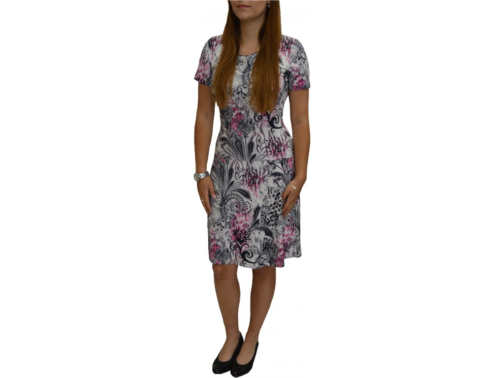 Šaty Sabatti růžovo-modré s rozšířenou sukní