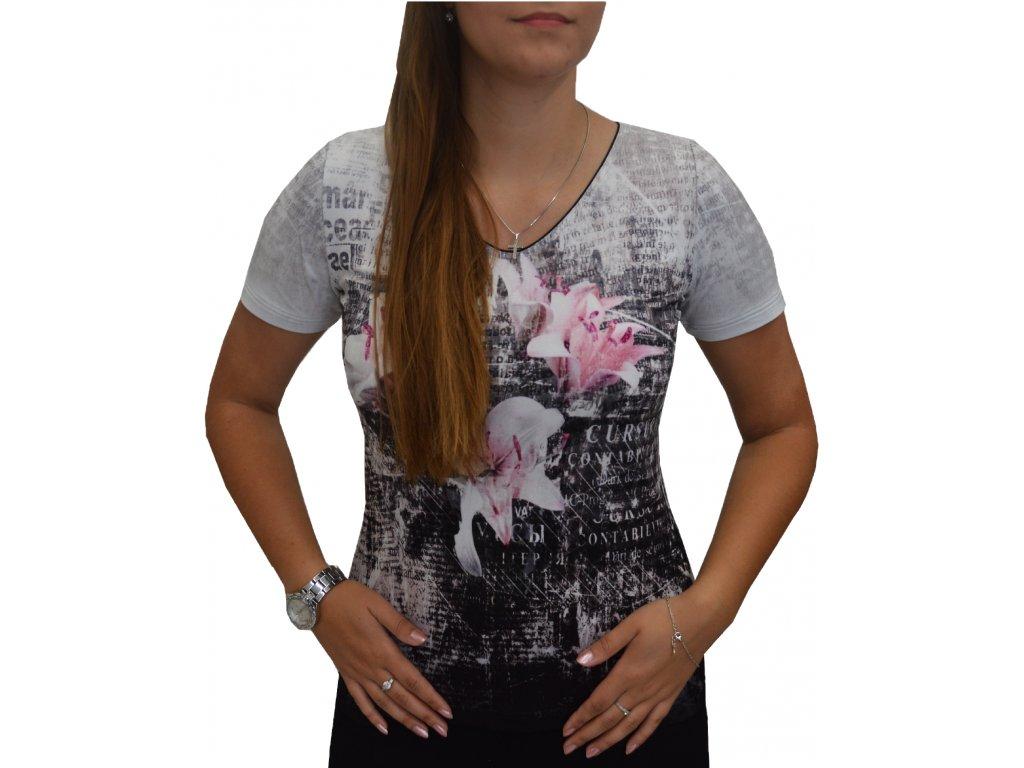 Halenka Sabatti šedá s růžovým květem