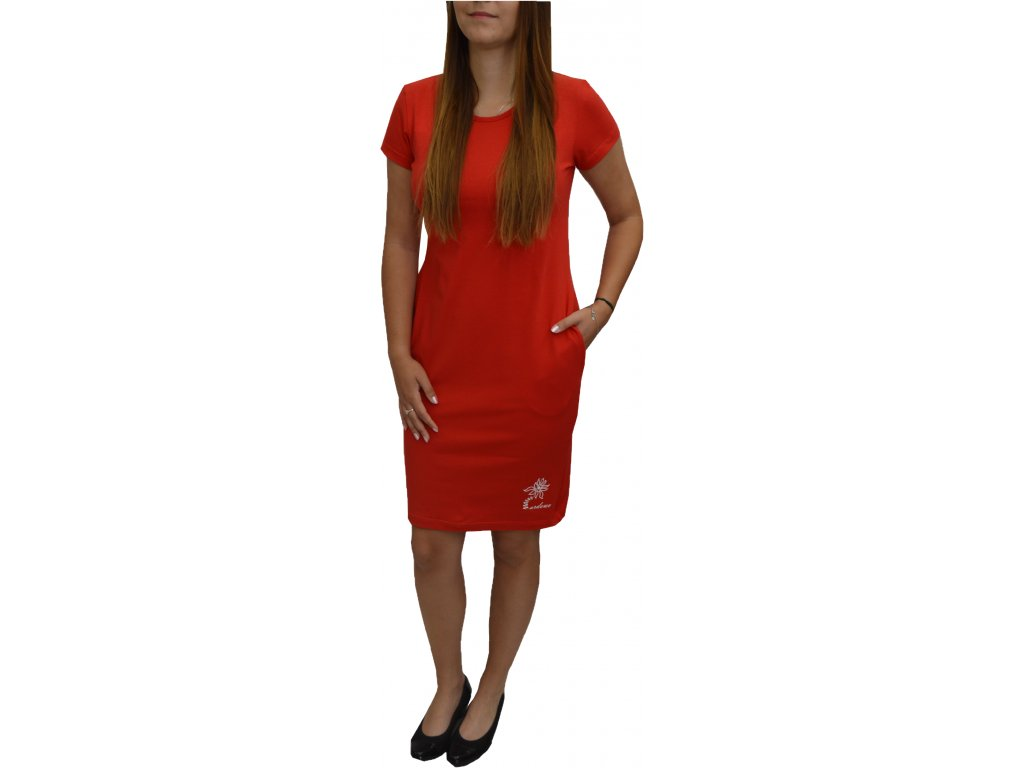 Šaty Ardewo červené s kapsami