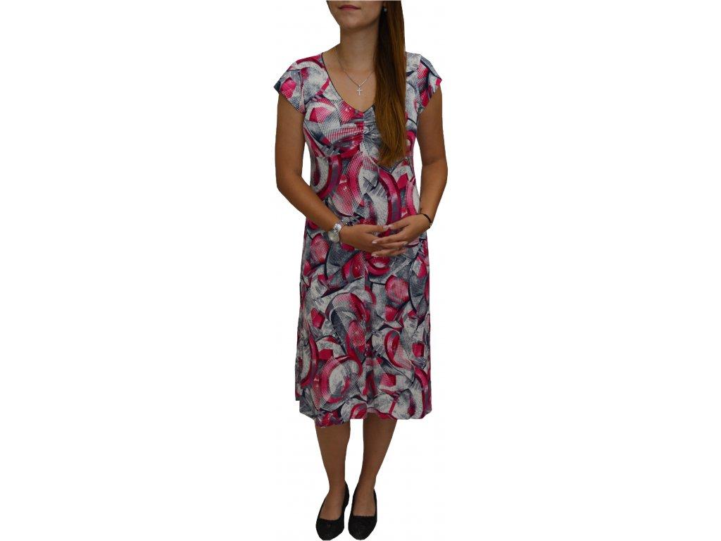 Šaty Pratto růžová nařasené véčko