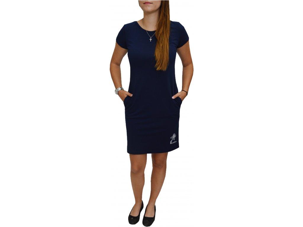 Šaty Ardewo tm. modré s kapsami
