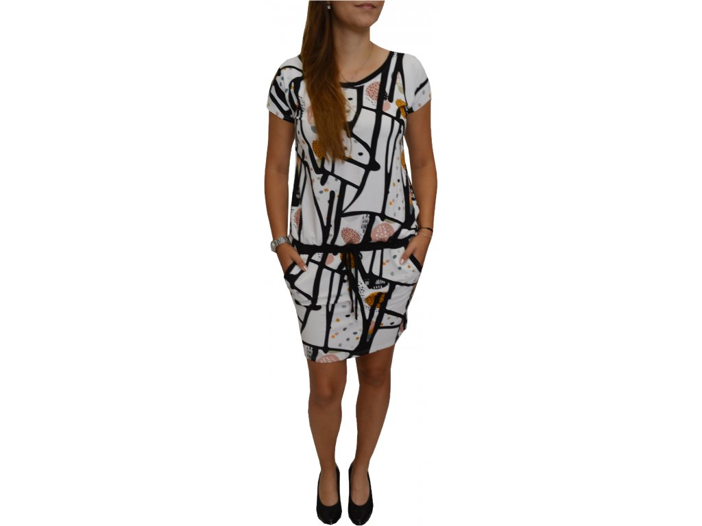Šaty Elain bílé s černým vzorem